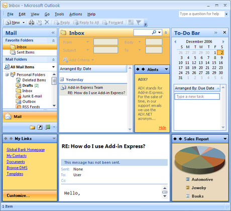 Microsoft Outlook Anpassung